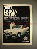 1978 Lancia Car Ad - Test Lancia Value, NICE!!!