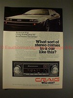 1979 Craig PowerPlay Receiver Ad w/ DMC DeLorean Car!!