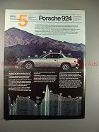 1980 Porsche 924 Car Ad - Vehicle Aerodynamic Form!!