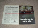 1975 BMW 530i 2-page Car Ad, The Luxury Car, NICE!!
