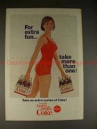 1965 Coke Coca-Cola Ad, Woman in Bathing Suit - Fun!
