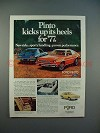 1977 Ford Pinto 3-door Runabout Car Ad - Pinto Kicks