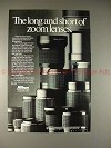 1986 Nikon Lenses Ad - The Long & Short of Zoom Lenses!