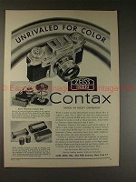 1956 Contax IIIa Camera Ad - Unrivaled for Color, NICE!