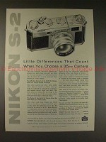 1956 Nikon S-2 S2 Camera Ad - Little Differences Count!