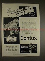 1957 Contax Camera Ad - More Fine Shots Per Load, NICE!