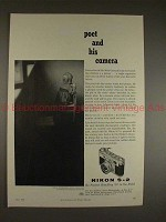 1957 Nikon S-2 S2 Camera Ad - Poet and His Camera!!