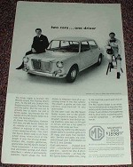 1963 MG Sports Sedan Car Ad, w/ Graham Hill NICE!!