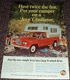 1966 Jeep Gladiator Truck Ad, Twice the Fun With Camper