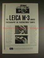1958 Leica M-3 M3 Camera Ad - Makes Photography Simple!