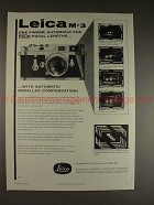 1958 Leica M-3 M3 Camera Ad, Automatic 4 Focal Lengths!