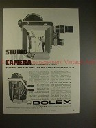 1958 Bolex H-16 Reflex Movie Camera Ad - Studio Camera!