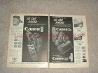 1957 2pg Canon L-1, VT Deluxe and 8mm Movie Camera Ad!!