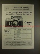 1959 Canon VI Rangefinder Camera Ad - On All Counts!!