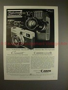 1961 Canon Canonet & Full Range Zoom 8 Movie Camera Ad!