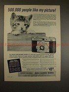 1955 Edixa Rangefinder Model C Camera Ad w/ Cat, NICE!