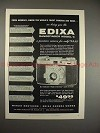 1956 Edixa Rangefinder Model C Camera Ad - Finest!!