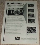 1957 Leica M-3 M3 Camera Ad, One Finder NICE!