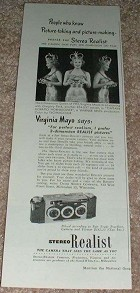 1950 Stereo Realist Camera Ad w/ Virginia Mayo NICE!!