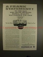 1960 Konica S Camera Ad - A Frank Statement, NICE!!