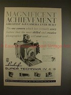 1961 Linhof Super Technika IV 4x5 Camera Ad - NICE!