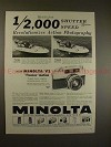 1959 Minolta V2 Camera Ad - 1/2000 Speed Revolutionizes