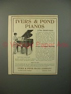 1914 Ivers & Pond Small Grand Piano Ad - NICE!