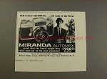 1960 Miranda Automex Camera Ad - Look at the Price!!