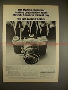 1972 Miranda Sensorex II Camera Ad - Rates Best Buy!!