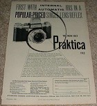 1956 Praktica FX2 Camera Ad, First w/ Automatic Iris!!