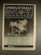 1960 Praktina FX Camera Ad - Unbelievable!!