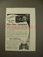 1935 Zeiss Contax Camera, Binoculars Ad - Candid True