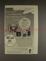 1955 Ricoh 35 Camera Ad - With Real Trigger Action!!