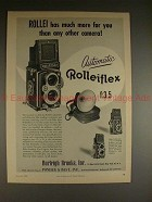 1956 Rollei Rolleiflex f:3.5 Camera Ad - Has Much More!