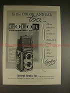 1956 Rollei Rolleiflex Camera Ad - In Color Annual Too!