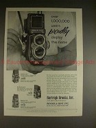 1958 Rollei Rolleiflex, Rolleicord Camera Ad - Proudly!