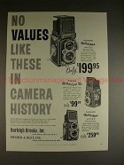 1958 Rollei Rolleiflex, Rolleicord Camera Ad - Values!!