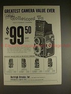 1958 Rollei Rolleicord Va Camera Ad - Greatest Value!!