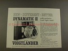 1960 Voigtlander Dynamatic II Camera Ad - Different!