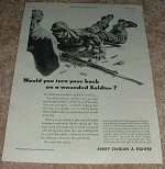 1943 WWII Every Civilian a Fighter Ad, Wounded Soldier!
