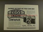 1956 Zeiss Ikon Contaflex Camera Ad - Works Fast!