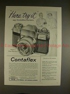 1958 Zeiss Ikon Contaflex Camera Ad - Here, Try It!!
