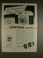 1959 Zeiss Contina-Matic Camera Ad - Outstanding Value!