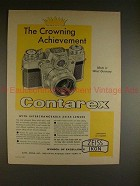 1960 Zeiss Contarex Camera Ad - Crowning Achievement!!