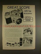 1960 Zeiss Ikon Contarex Camera Ad - Great Scope!!
