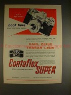 1961 Zeiss Contaflex Super Camera Ad - Look Here!!