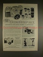 1961 Zeiss Contarex Camera Ad - Unrivaled for Amateur!!