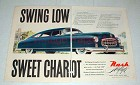1948 2-page Nash Airflyte Car Ad - Swing Low Chariot