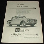 1959 MG Magnette Mark III Car Ad, For Pace & Prestige!!