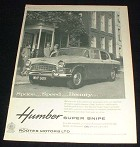 1959 Humber Super Snipe Car Ad, Space, Speed, Beauty!!